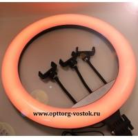 """Кольцевая лампа для профессиональной съёмки с держателем для смартфона на штативе, диаметр - 45 см S-128 (45см 18"""" RGB LED)"""